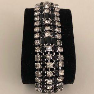 1960's Rhodium Plated & Ónix Rhinestones Bracelet